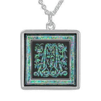 "M Initial Monogram ""Masselle Blue"" Necklace Custom Necklace"