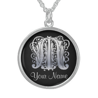 M Initial with Your Name Necklace Custom Jewelry