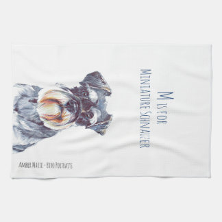 M is for Miniature Schnauzer Hand Towels