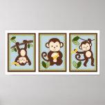 M is for Monkey Jungle Nursery Wall Art Print