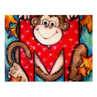 M is for Monkey Postcard