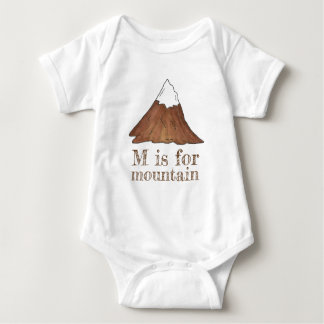 M is for Mountain Snow Capped Peak Climbing Camp Baby Bodysuit