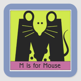 M Is For Mouse Animal Alphabet for Kids Square Sticker