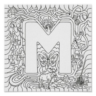 M Is For Mushrooms Color In Letter Poster