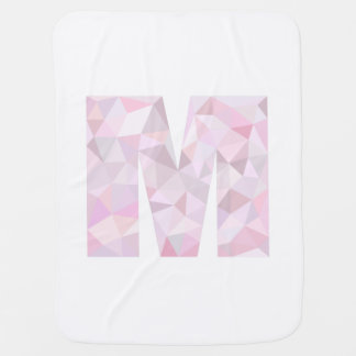 M - Low Poly Triangles - Neutral Pink Purple Gray Receiving Blankets