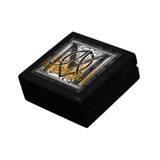 M Monogram Celtic Black Stone Decorative Box