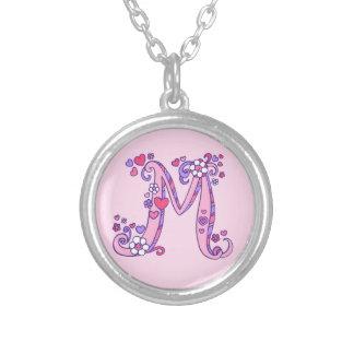 M monogram decorative letter necklace