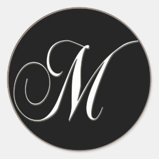 M monogram - elegant black and white round stickers