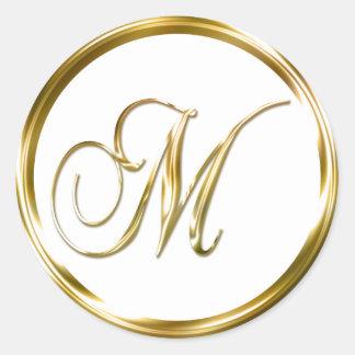 M Monogram Faux Gold Envelope Or Favor Seal Round Sticker