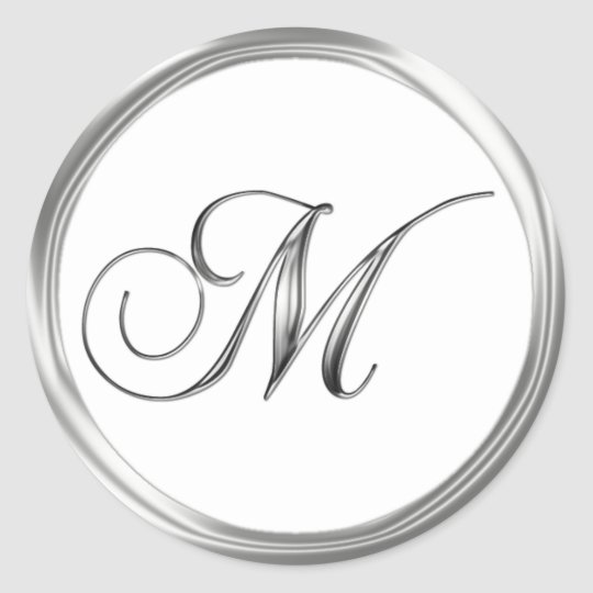 M Monogram Letter Sliver On White Wedding Seal