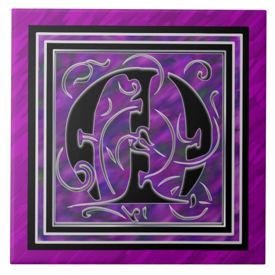 "M Monogram ""Purple Waters"" Ceramic Tiles"