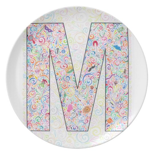 """M"" Monogrammed Plate"