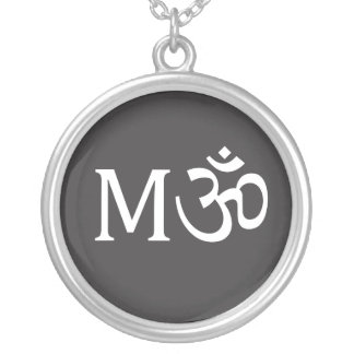 M-OM necklace, round Silver Plated Necklace