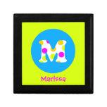 M Personalised Name and Initial Girls Jewellery Keepsake Box