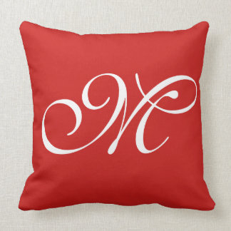 M Red Initial Pillow