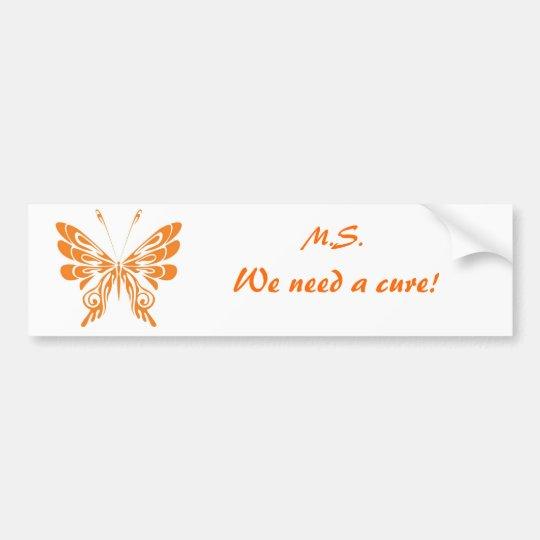 M.S. Butterfly Bumper Sticker