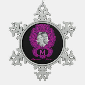 M - The Falck Alphabet (Pink) Pewter Snowflake Decoration