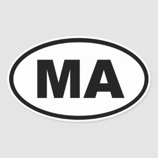 MA Massachusetts Oval Sticker