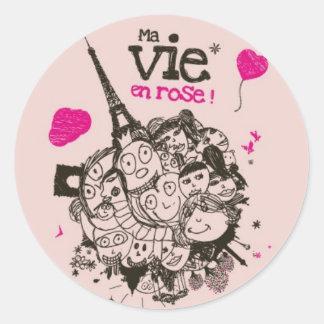 Ma Vie en Rose Round Sticker