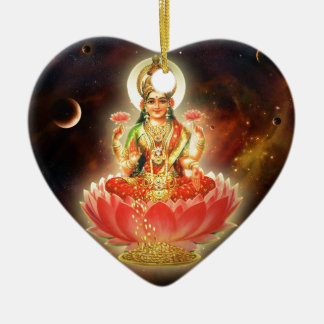 Maa Maha Lakshmi Devi Laxmi Goddess of Wealth Ceramic Heart Decoration