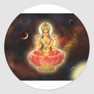 Maa Maha Lakshmi Devi Laxmi Goddess of Wealth Round Sticker