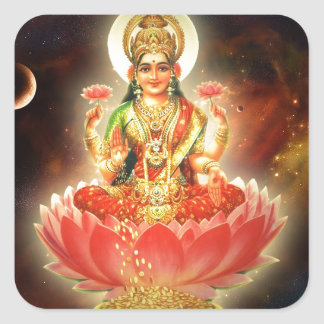 Maa Maha Lakshmi Devi Laxmi Goddess of Wealth Square Sticker