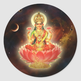 MAA MAHALAXMI DEVI INDIAN GODDESS OF WEALTH/ FORTU ROUND STICKER