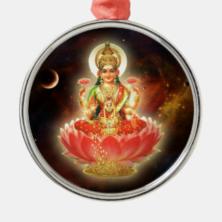 MAA MAHALAXMI DEVI INDIAN GODDESS OF WEALTH/ FORTU Silver-Colored ROUND DECORATION