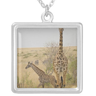 Maasai Giraffes roaming across the Maasai Mara Silver Plated Necklace