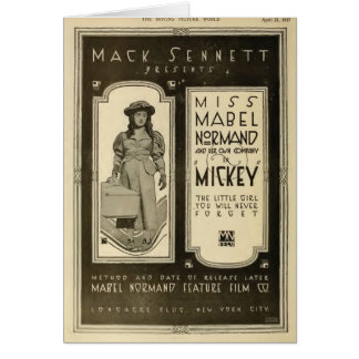 Mabel Normand 1917 Exhibitor Ad silent film Greeting Card