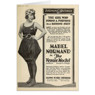 Mabel Normand 1918 bathing suit portrait silent Card