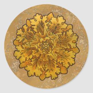 Mabon Oak Leaves Classic Round Sticker