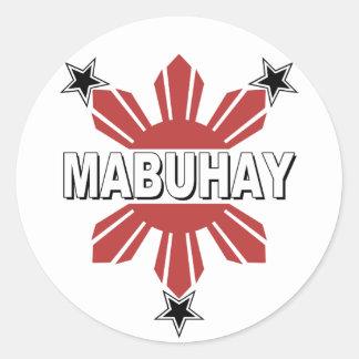 Mabuhay Filipino Sun and Star Round Sticker