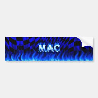Mac blue fire and flames bumper sticker design.