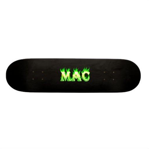 Mac green fire Skatersollie skateboard.