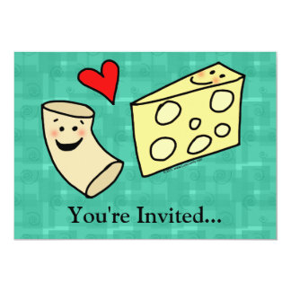 Mac Loves Cheese, Funny Cute Macaroni + Cheese 13 Cm X 18 Cm Invitation Card