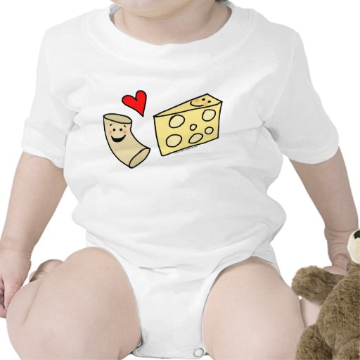 Mac Loves Cheese, Funny Cute Macaroni + Cheese Bodysuit