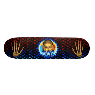 Mac skull blue fire Skatersollie skateboard.