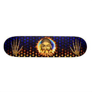 Mac skull real fire and flames skateboard design