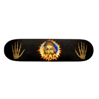 Mac skull real fire and flames skateboard design