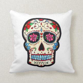 macabra almofada colorful Mexican skull Cushion
