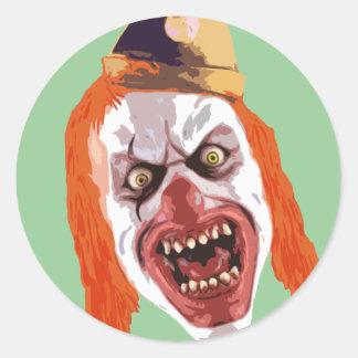 Macabre Clown Round Stickers