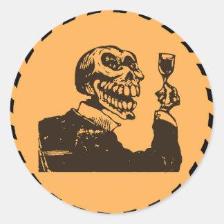Macabre Dia de los Muertos - A Toast Round Sticker
