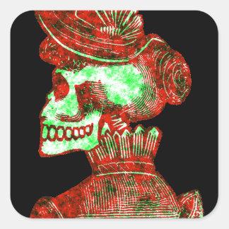 Macabre Dia de los Muertos Square Sticker