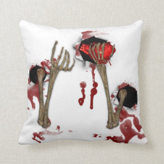 Macabre Skeleton Hands Halloween Throw Pillow Cushions