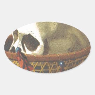 Macabre Skull - New Guinea Oval Stickers