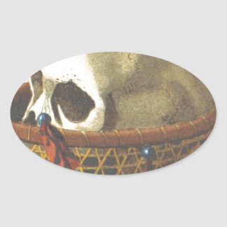 Macabre Skull - New Guinea Oval Stickers