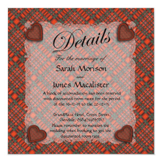 Macalister Scottish clan tartan - Plaid 13 Cm X 13 Cm Square Invitation Card