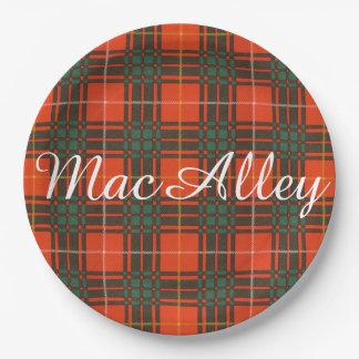 MacAlley clan Plaid Scottish kilt tartan Paper Plate