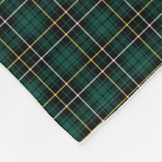 MacAlpine Clan Green and Black Tartan Fleece Blanket